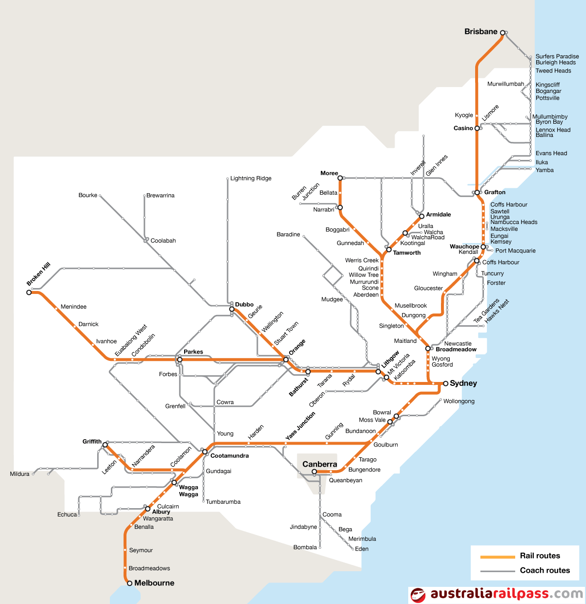 Map of rail routes covered by the Discovery Pass rail pass
