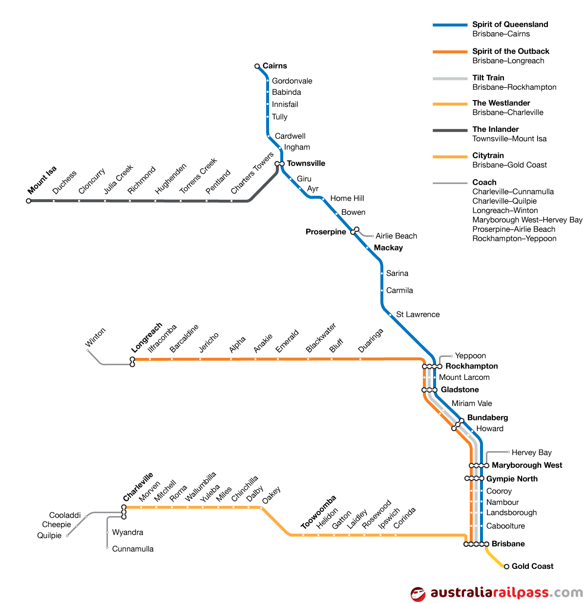 Map of rail lines covered by the Queensland Explorer Pass rail pass