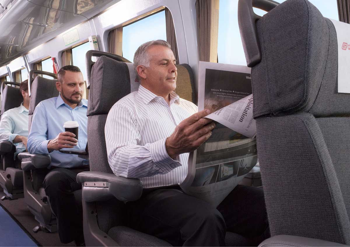 Business class seats on the Tilt Train in Queensland